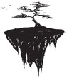 Tree growing on a floating island, black and white