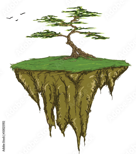 Tree growing on a floating island