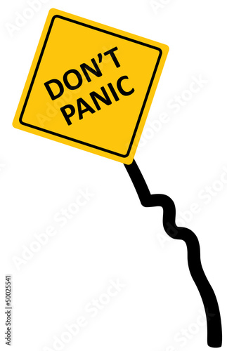 "Sign ""don't panic area"" bended and wrecked, vector"