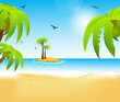 Beach with palms and birds, vector illustration