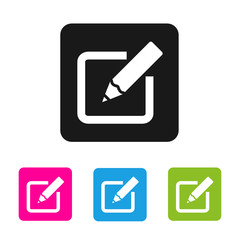 Edit Icon - vector colored rounded square shape