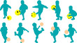 Vector silhouettes little child as football player with ball-smi