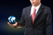 business man holding earth globe in hand