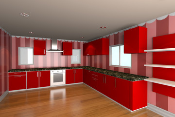 kitchen room with red wallpaper