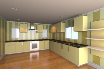 kitchen room with yellow wallpaper