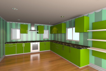 kitchen room with green wallpaper