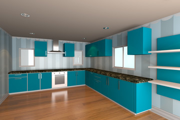kitchen room with blue wallpaper
