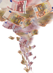 euro banknote tornado on white background
