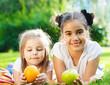 Happy little girls in summer day