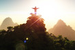 Obrazy na płótnie, fototapety, zdjęcia, fotoobrazy drukowane : Corcovado Mountain in the Sunset 3D render