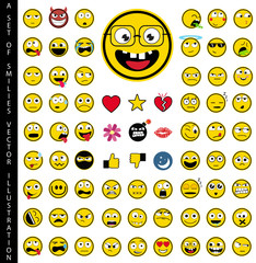 A set of 72 Emoticons & Smilies unique Icon Set - Vector