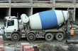 Cement mixer truck at work