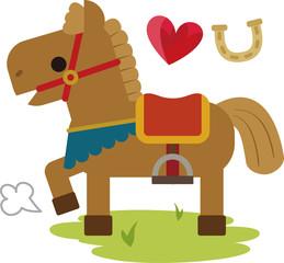 鞍を付けたかわいい馬