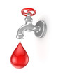 Iron tap and red drop.