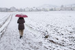 Frau mit Regenschirm tut im Schnee spazieren