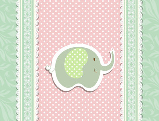 Vintage doodle elephant for frame wallpaper vector