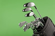 golf club set on chroma green