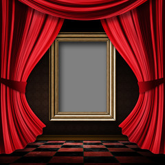 Red curtain room with wooden frame
