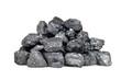 Leinwandbild Motiv Pile of coal isolated on white