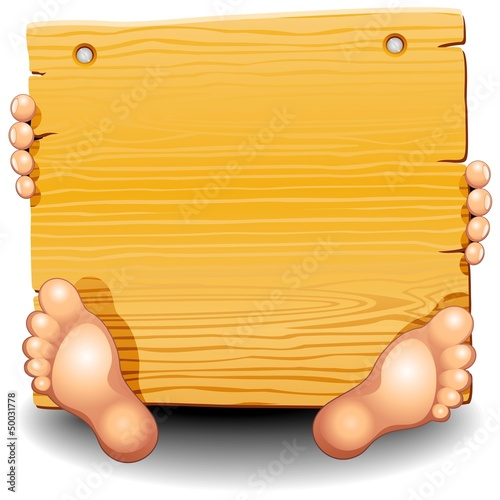 Wooden Panel with Hands and Feets-Pannello con Mani e Piedi