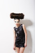 Headdress. Urban Woman Punk with Creative Coiffure.