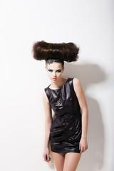 Headdress. Urban Woman Punk with Creative Coiffure.