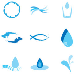 Water elements logo set vector