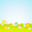 16 Easter Eggs Blue/Yellow/Orange Background Meadow Sky