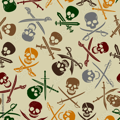 Pirate Skulls with Crossed Swords Seamless Pattern