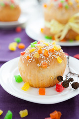 Small Easter cake on the background homemade pastries