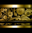 Technology background gold metallic gears and golden cogwheels