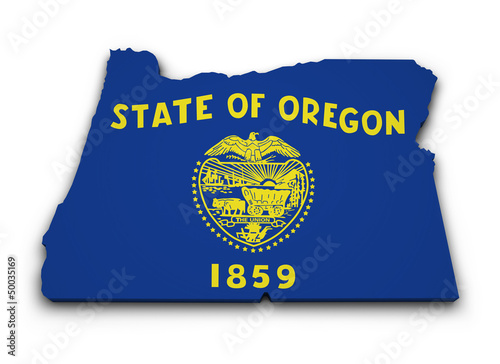 Oregon Flag Map Shape