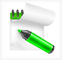 Green highlighter and notebook isolated, vector illustration