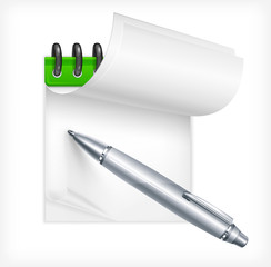 Ballpoint metallic pen and notebook isolated, vector