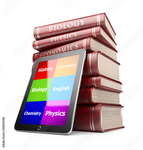 Tablet PC with books. Education concept. 3D Icon  isolated