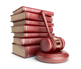 Wooden gavel with books. LAW concept. 3D Icon isolated