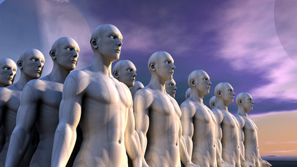 Figuras humanoides y planeta lejano