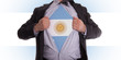 Business man with Argentinian flag t-shirt