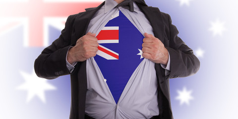 Business man with Australian flag t-shirt