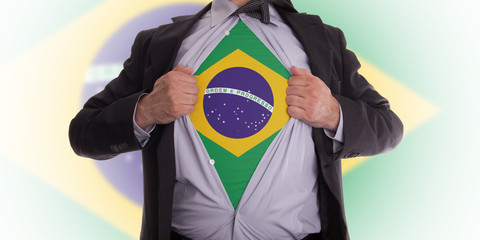 Business man with Brazilian flag t-shirt