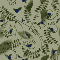 Bilberry / Floral decorative wallpaper