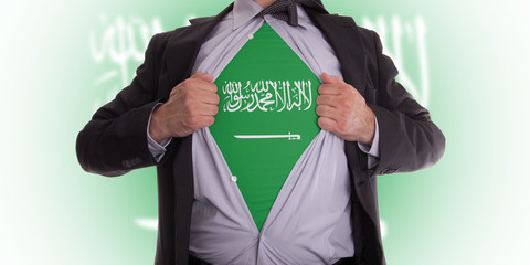 Business man with Saudi Arabian flag t-shirt