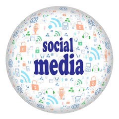 Social media on  isolated background