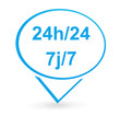 24 heures sur 24 7 jours sur 7 sur signet bleu