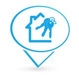 immobilier clefs sur signet bleu