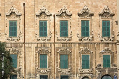 baroque facade of Auberge de Castille in Valletta - office of the Prime Minister of Malta