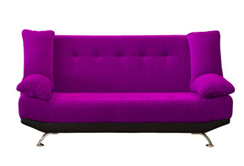 Purple fabric modren sofa on white background