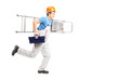 Full length portrait of a repairman running with a ladder and a
