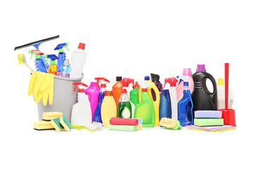 Studio shot of a cleaning supplies