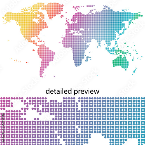 colorful dots & dotted world map
